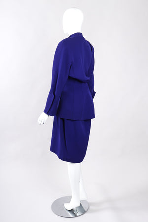 Recess Los Angeles Vintage Thierry Mugler Architectural Jacket Wrap Skirt Suit Set Fins Fitted Waist Violet Purple