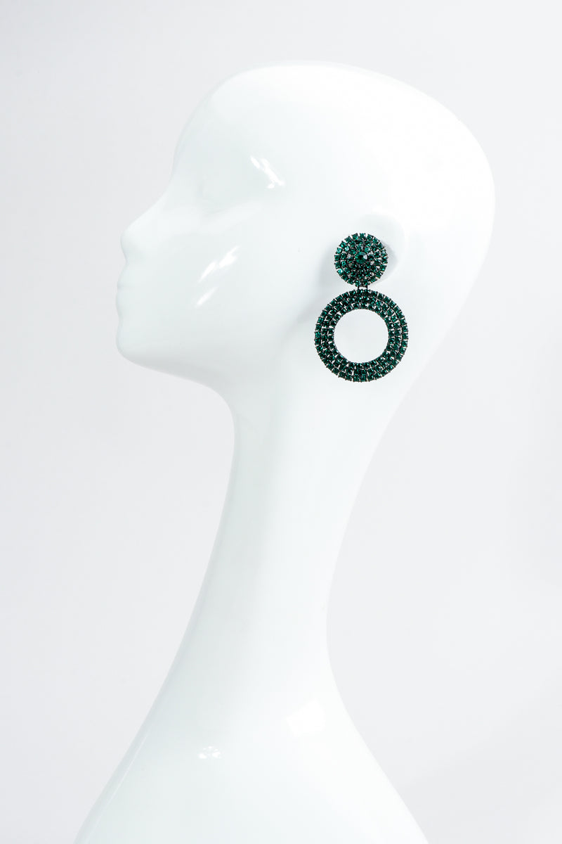 Vintage Thelma Deutsch Crystal Emerald Hoop Drop Earrings on Mannequin