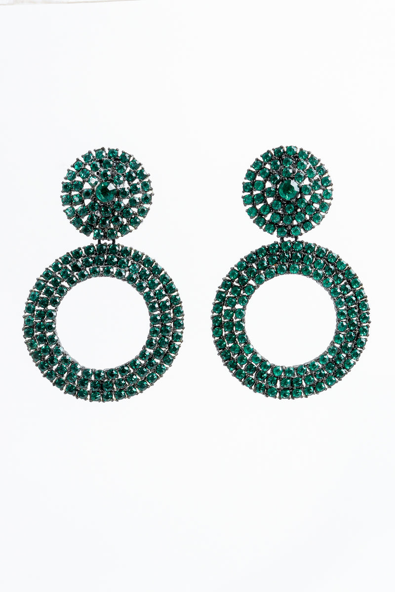 Vintage Thelma Deutsch Crystal Emerald Hoop Drop Earrings