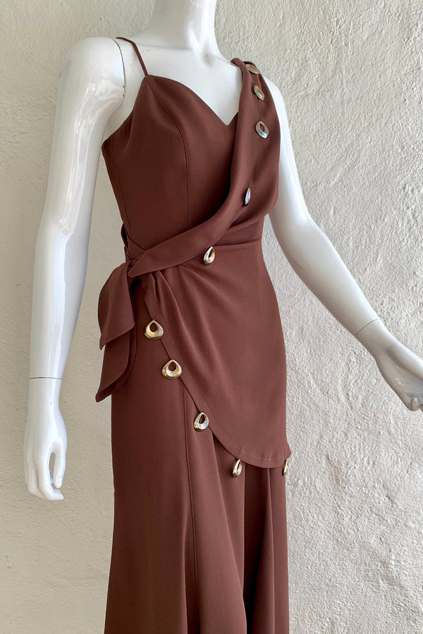 Vintage Thierry Mugler Asymmetric Wrap Dress On Mannequin Angle Crop at Recess Los Angeles