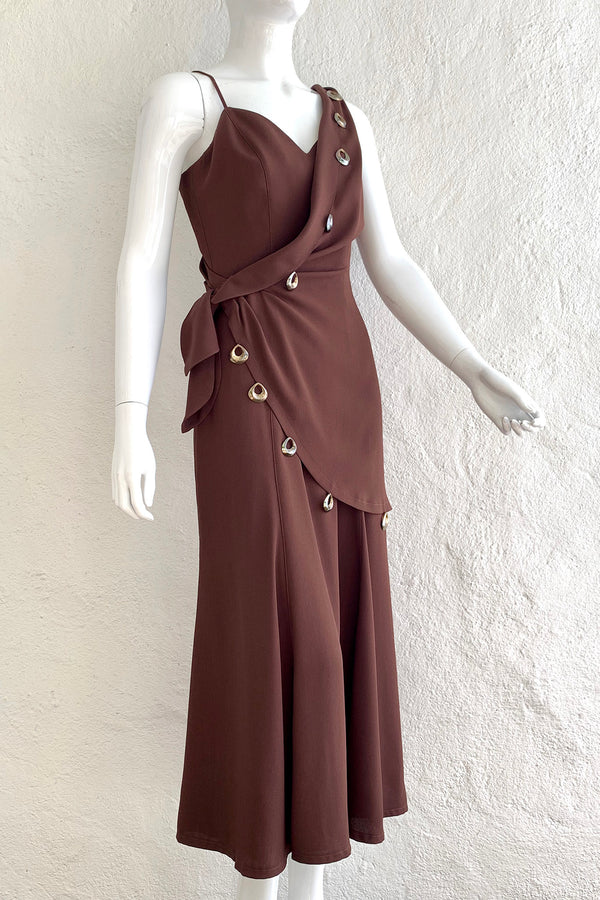 Vintage Thierry Mugler Asymmetric Wrap Dress On Mannequin Angle at Recess Los Angeles
