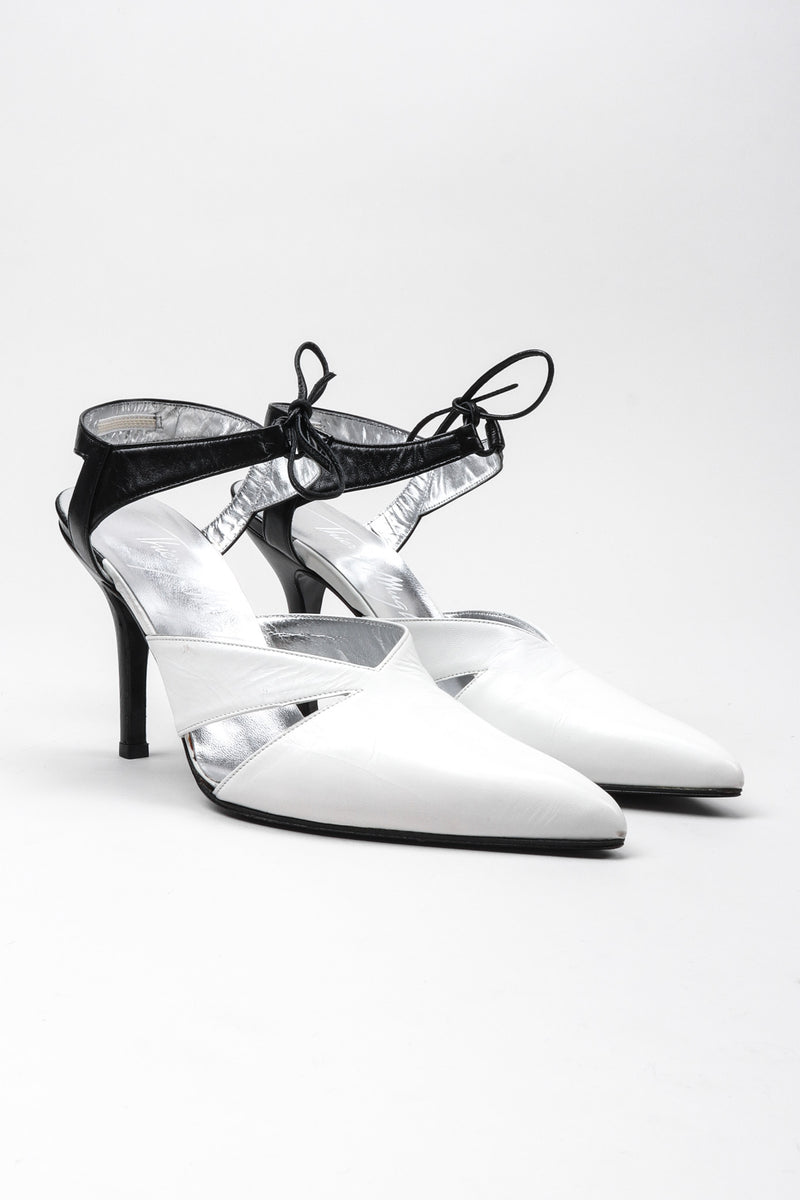 Recess Los Angeles Vintage Thierry Mugler Graphic B&W Black And White Ankle Strap Heels