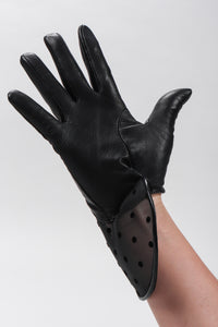 Mesh Dot Leather Gloves