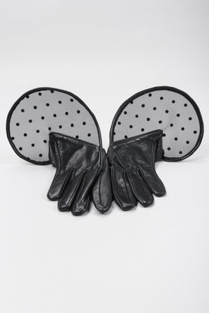 Recess Los Angeles Vintage Thomasine Short Leather Dot Mesh Cuff Gloves