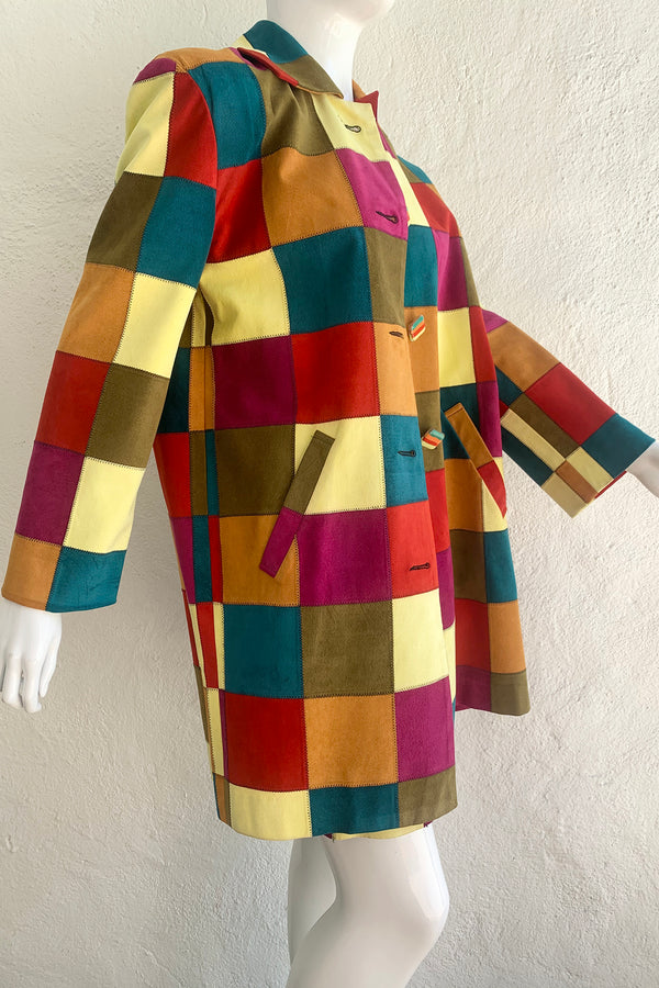 Vintage Todd Oldham Fall 1991 Ultrasuede Patchwork Jacket & Skirt Set on Mannequin side at Recess