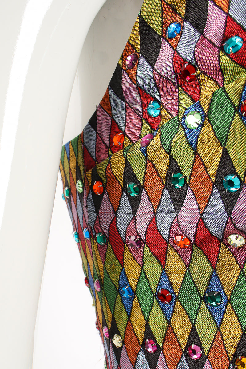 Vintage Todd Oldham Rainbow Rhinestone Harlequin Vest on Mannequin run at Recess Los Angeles