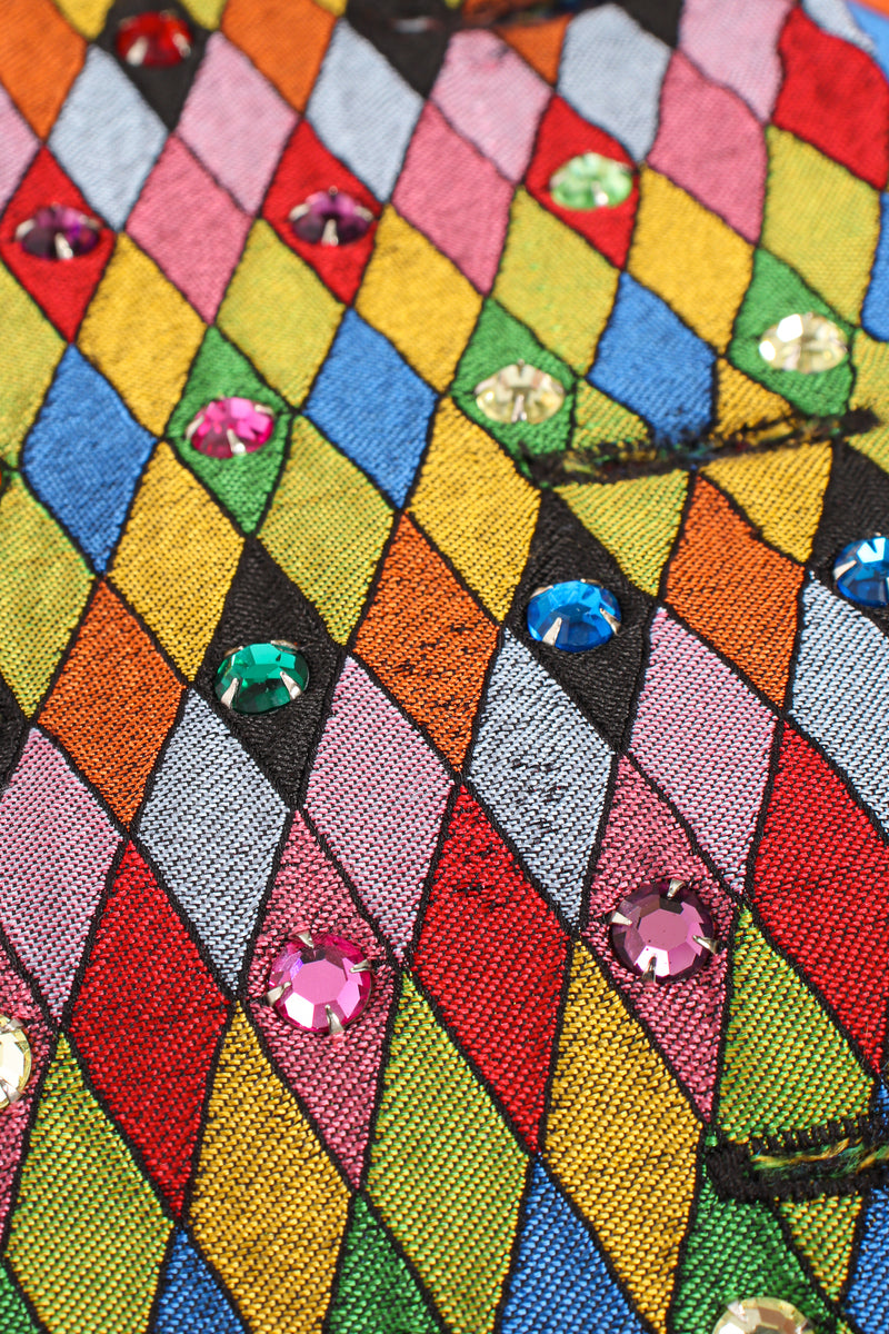 Vintage Todd Oldham Rainbow Rhinestone Harlequin Vest front wear at Recess Los Angeles