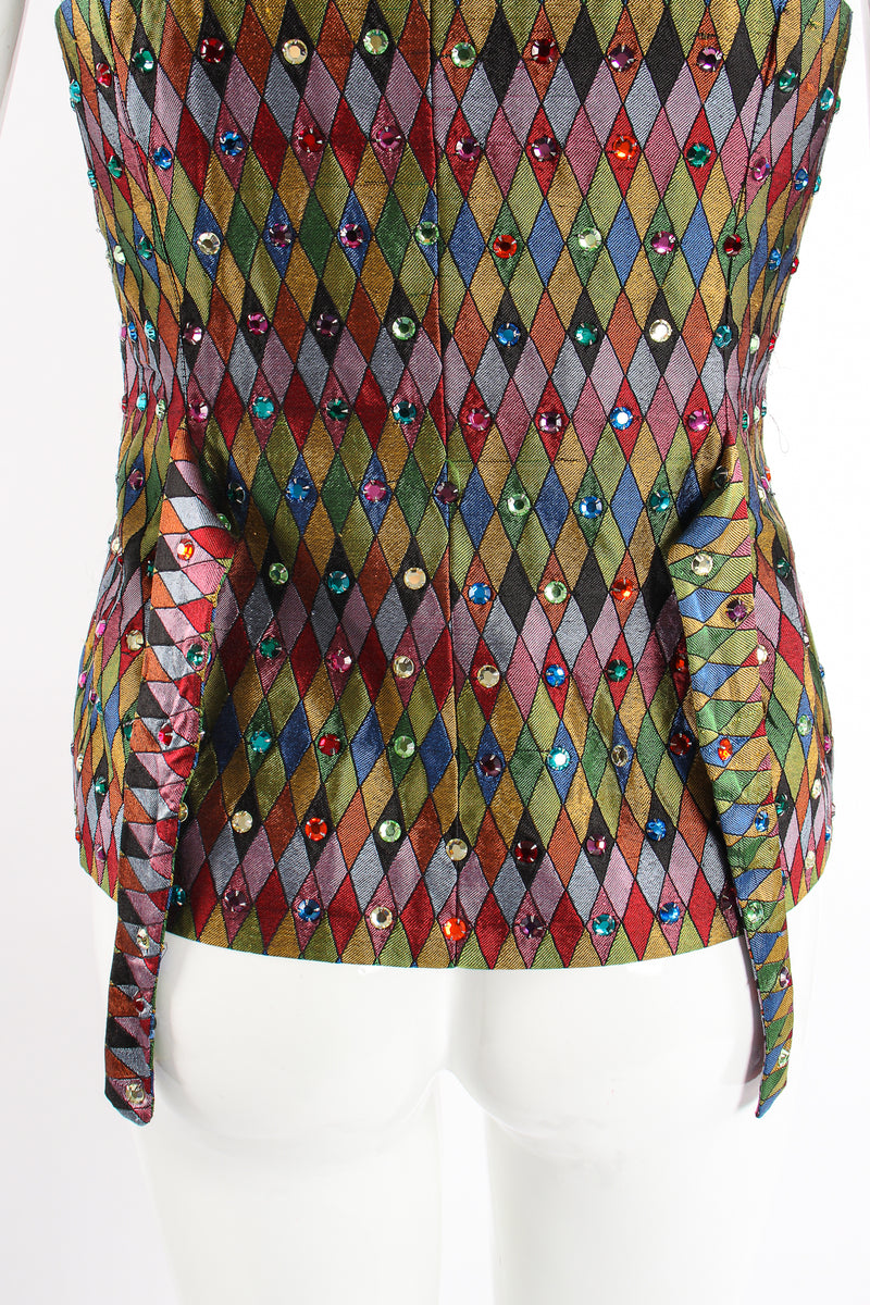Vintage Todd Oldham Rainbow Rhinestone Harlequin Vest on Mannequin back tie at Recess Los Angeles