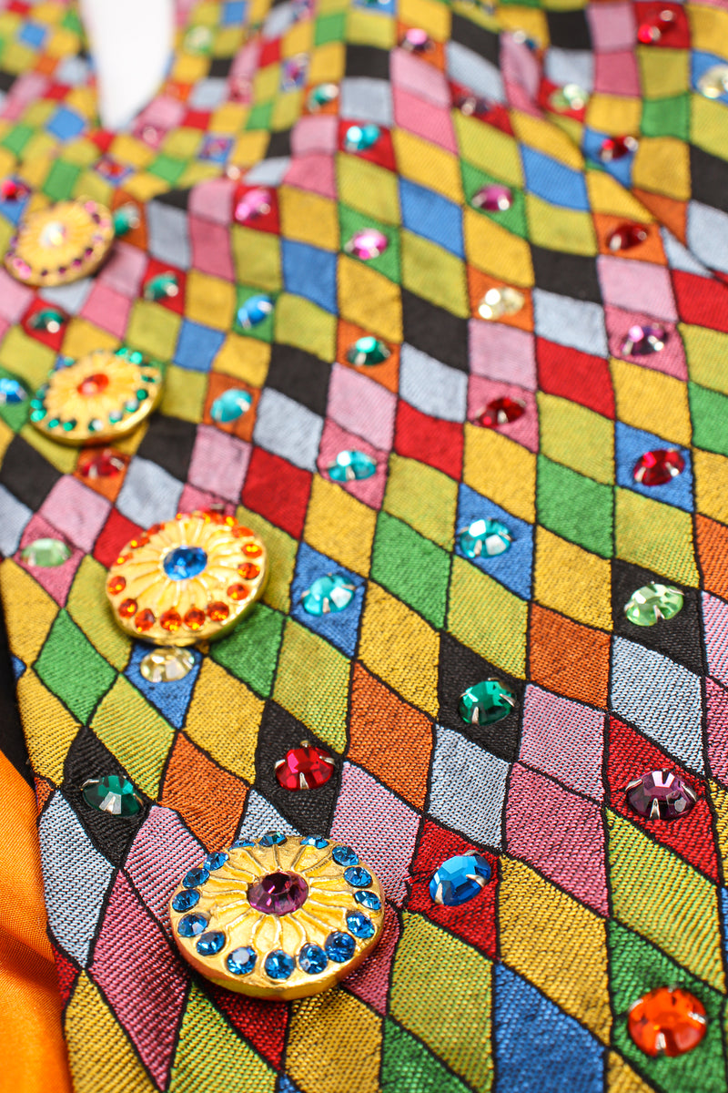 Vintage Todd Oldham Rainbow Rhinestone Harlequin Vest fabric detail at Recess Los Angeles