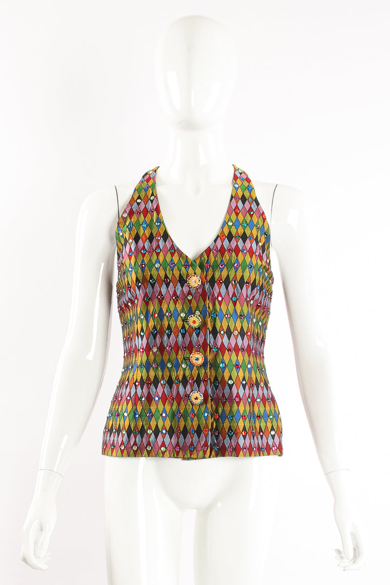 Vintage Todd Oldham Rainbow Rhinestone Harlequin Vest on Mannequin front at Recess Los Angeles