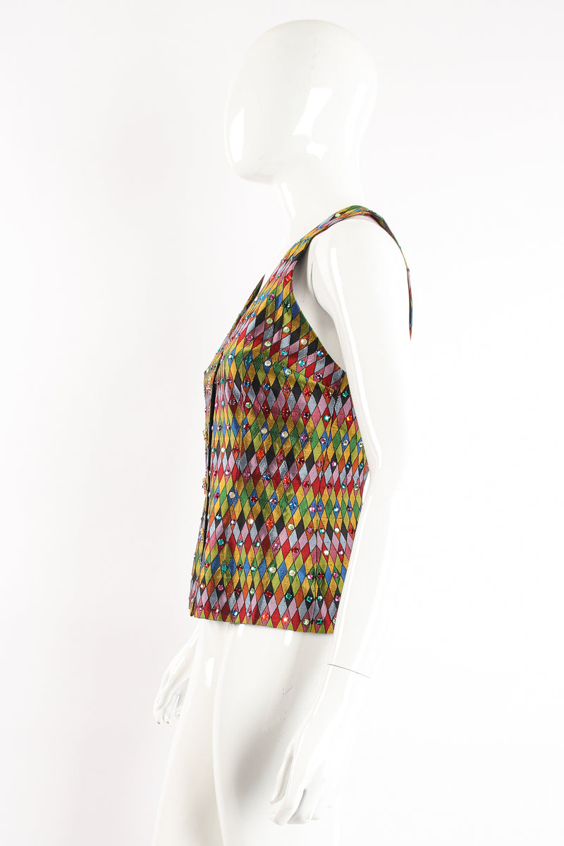 Vintage Todd Oldham Rainbow Rhinestone Harlequin Vest on Mannequin side at Recess Los Angeles