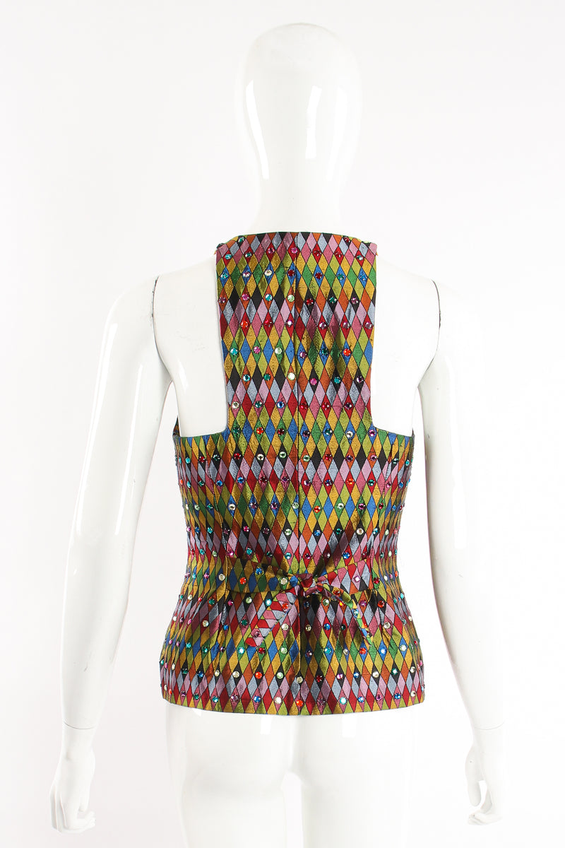 Vintage Todd Oldham Rainbow Rhinestone Harlequin Vest on Mannequin back at Recess Los Angeles