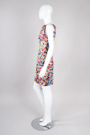 Recess Los Angeles Vintage Todd Oldham Satin Mod Square Confetti Print Cocktail Dress