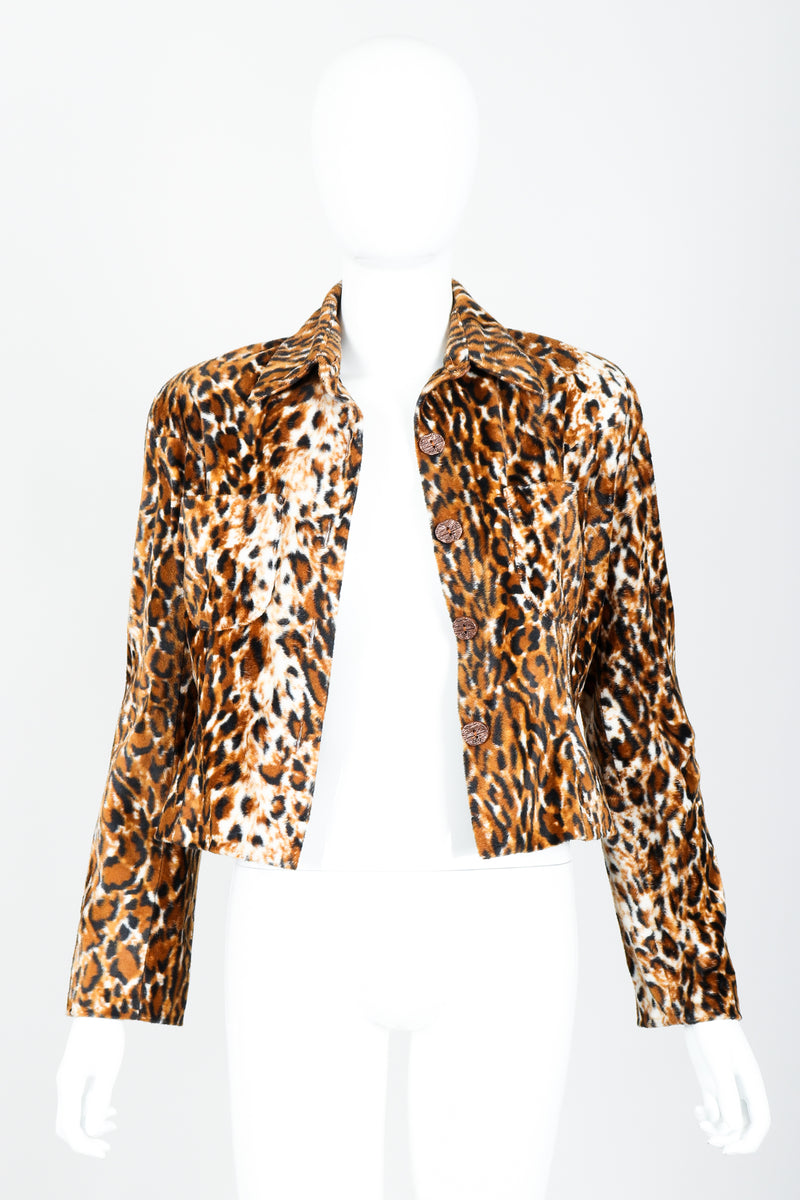 Vintage Todd Oldham Times Seven Faux Leopard Fur Jacket on Mannequin Open at Recess
