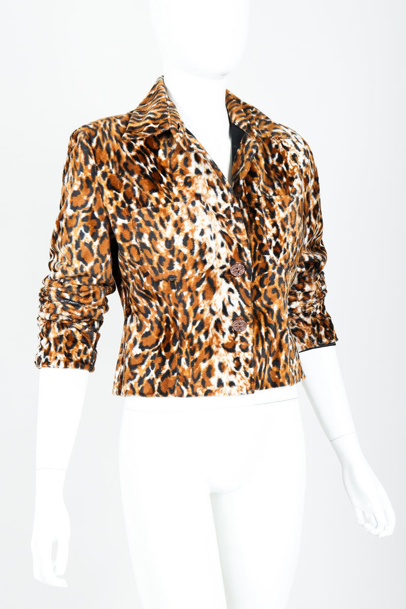 Vintage Todd Oldham Times Seven Faux Leopard Fur Jacket on Mannequin Angled at Recess