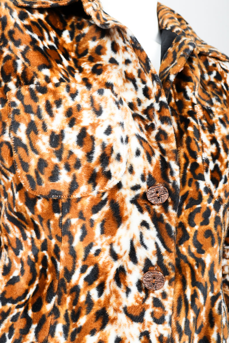 Vintage Todd Oldham Times Seven Faux Leopard Fur Jacket on Mannequin Button Detail at Recess