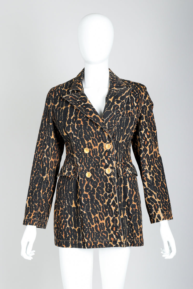 Recess Vintage Todd Oldham Leopard Print Denim Jacket On Mannequin