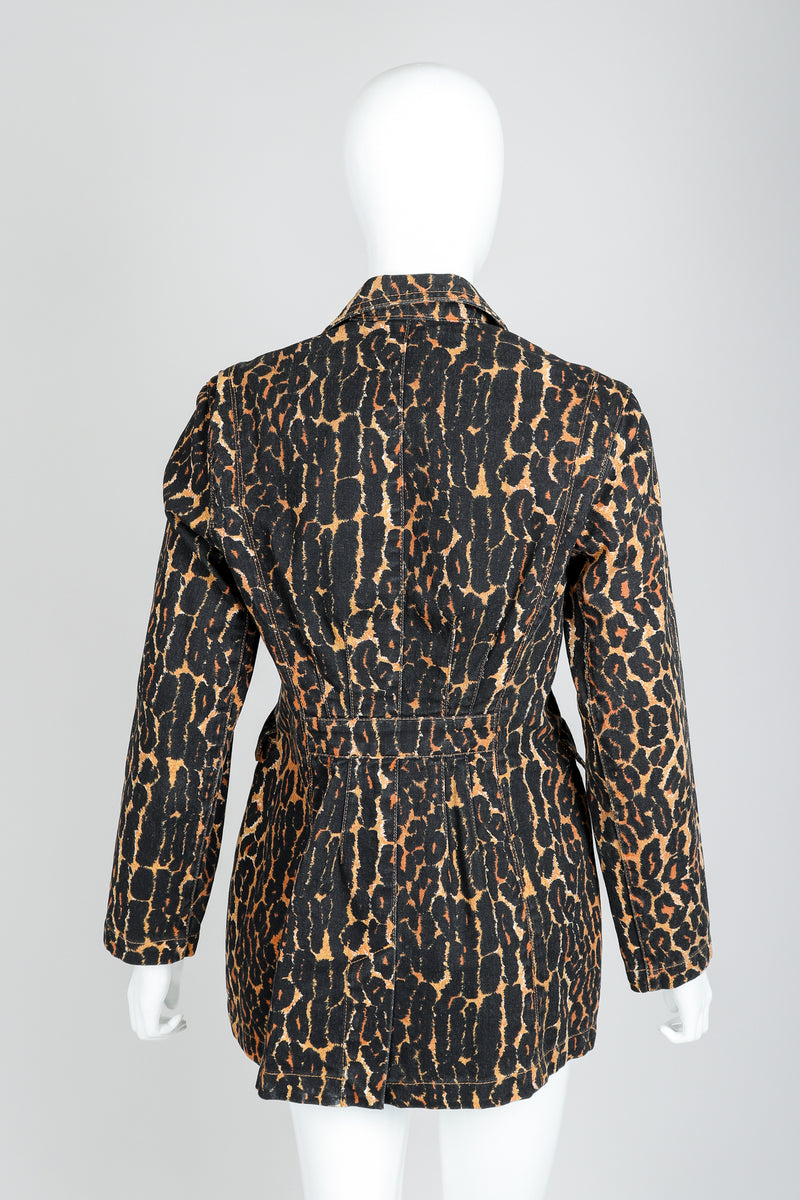 Recess Vintage Todd Oldham Leopard Print Denim Jacket On Mannequin, Back