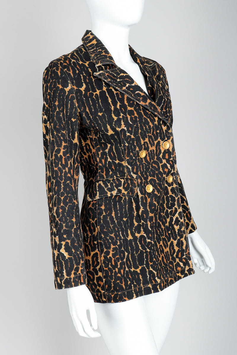 Recess Vintage Todd Oldham Leopard Print Denim Jacket On Mannequin, Side View