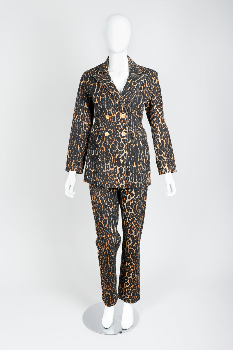 Recess Vintage Todd Oldham Leopard Print Denim Jacket & Pant Set On Mannequin