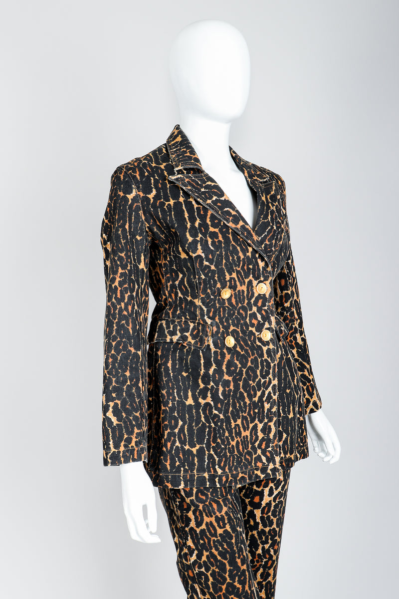 Recess Vintage Todd Oldham Leopard Print Denim Jacket & Pant Set On Mannequin, angled