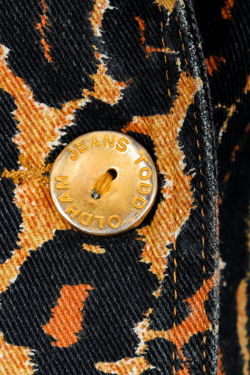 Recess Vintage Todd Oldham Leopard Print Denim Jacket & Pant Suit Button Detail