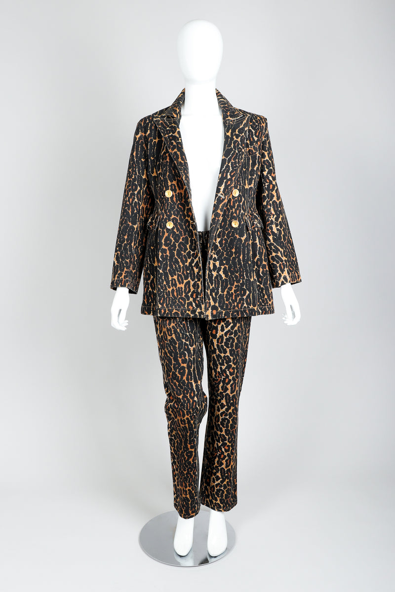 Recess Vintage Todd Oldham Leopard Print Denim Jacket & Pant Set On Mannequin, Open Jacket