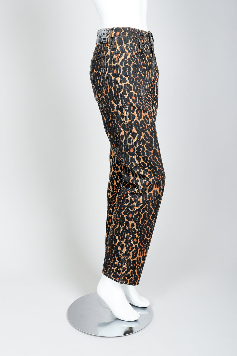 Recess Vintage Todd Oldham Leopard Print Jean On Mannequin, side view