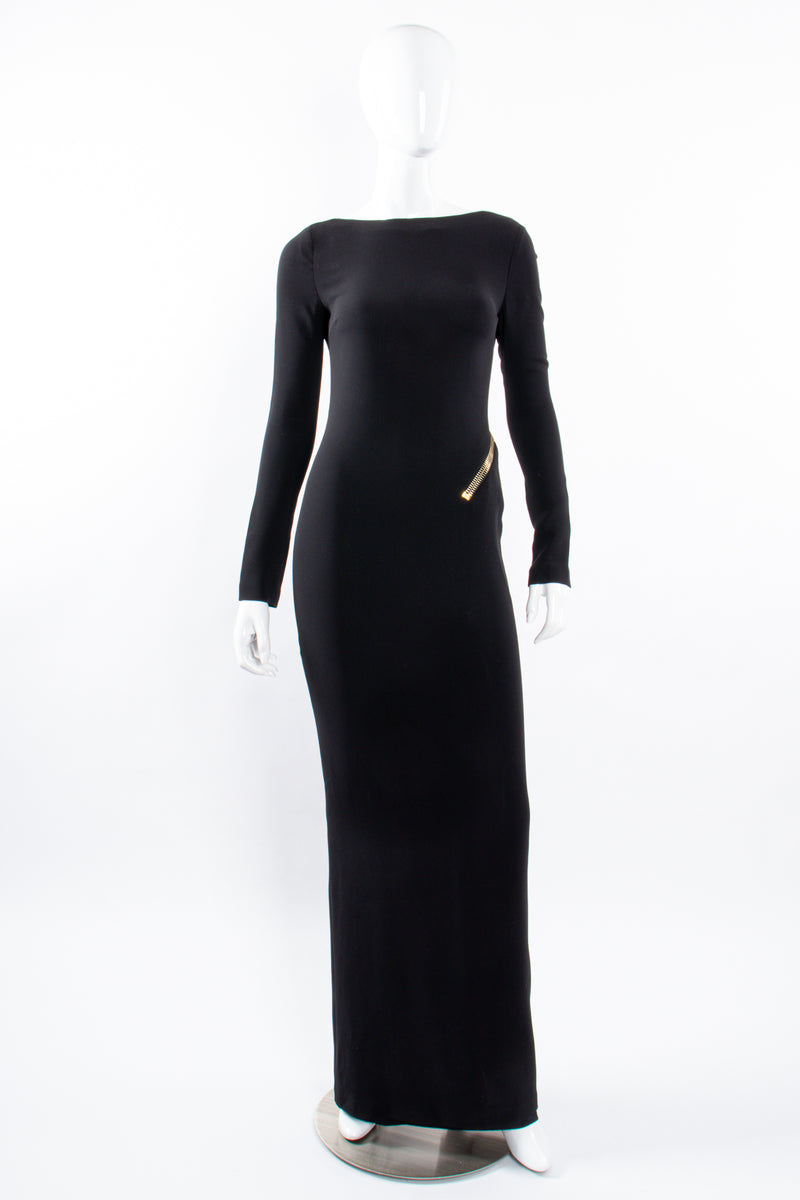 Vintage Tom Ford AW 2012 Plunge Back Zipper Gown on Mannequin front at Recess Los Angeles