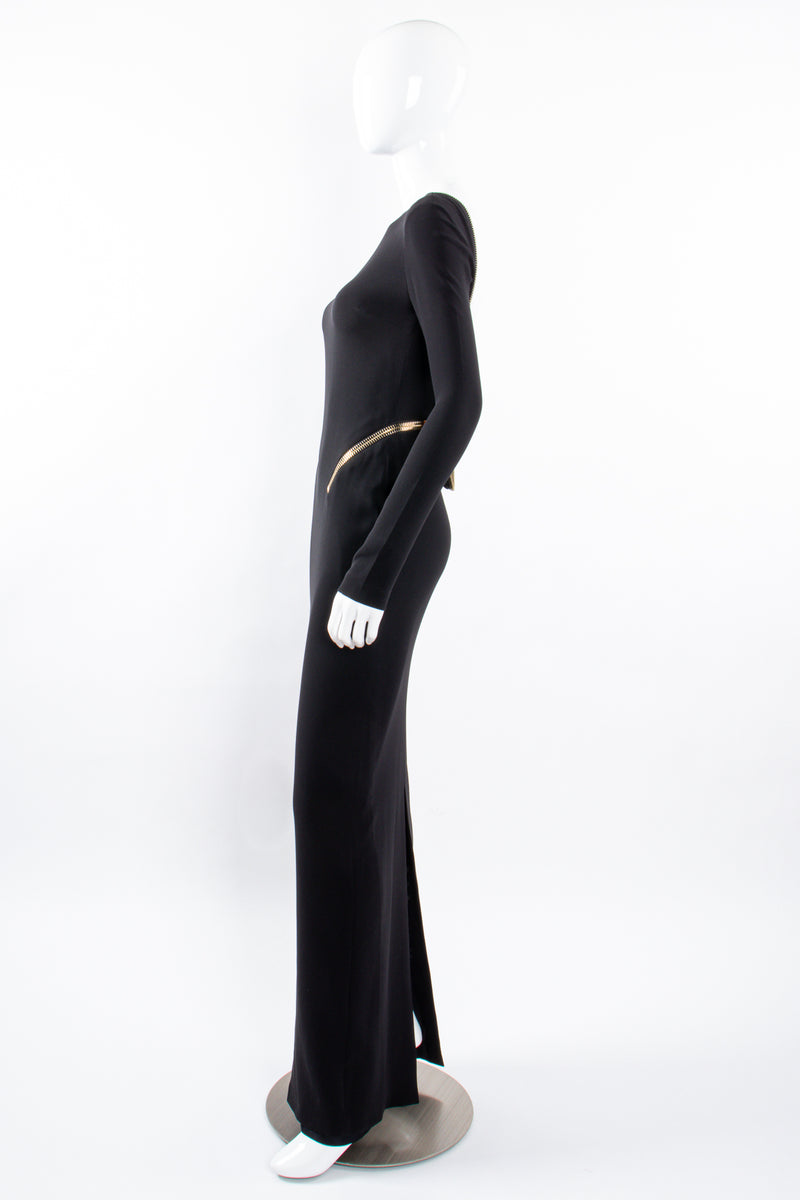 Vintage Tom Ford AW 2012 Plunge Back Zipper Gown on Mannequin side at Recess Los Angeles