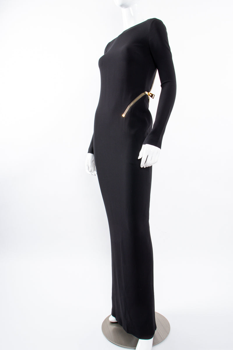 Vintage Tom Ford AW 2012 Plunge Back Zipper Gown on Mannequin angle at Recess Los Angeles