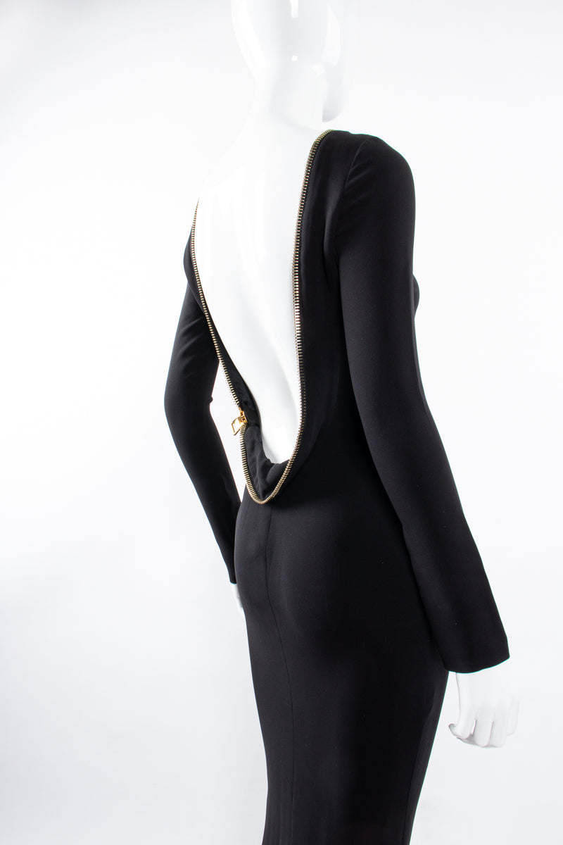 Vintage Tom Ford AW 2012 Plunge Back Zipper Gown on Mannequin back angle at Recess Los Angeles