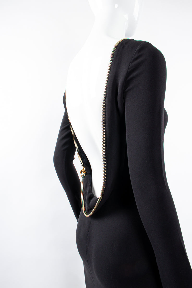 Vintage Tom Ford AW 2012 Plunge Back Zipper Gown on Mannequin back at Recess Los Angeles