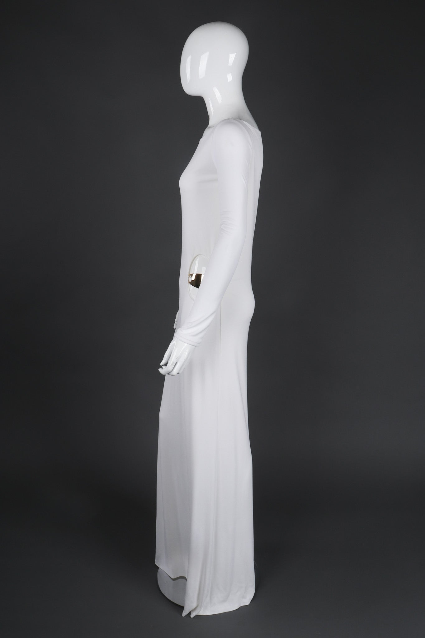 Vintage Gucci Tom Ford 1996 Cutout White Era Jersey Belt Gown ...