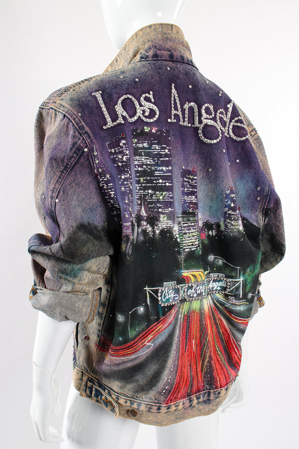 Vintage Tony Alamo Los Angeles City of Angles Denim Jacket on Mannequin back angle at Recess LA