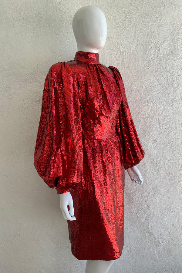 Vintage Touch of Paris by Carmen Zweig Sequin Balloon Sleeve Dress On Mannequin angle at Recess