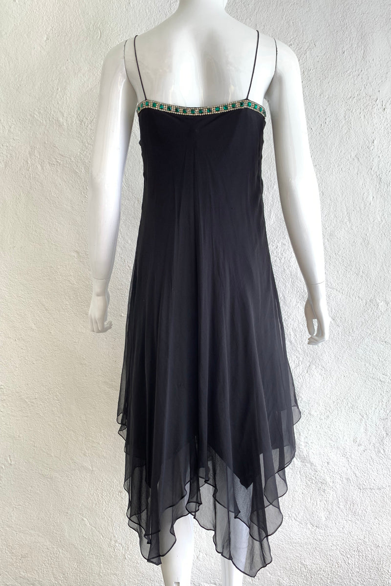 Vintage Tracy Mills Layered Chiffon Bias Dress on Mannequin Back At Recess Los Angeles