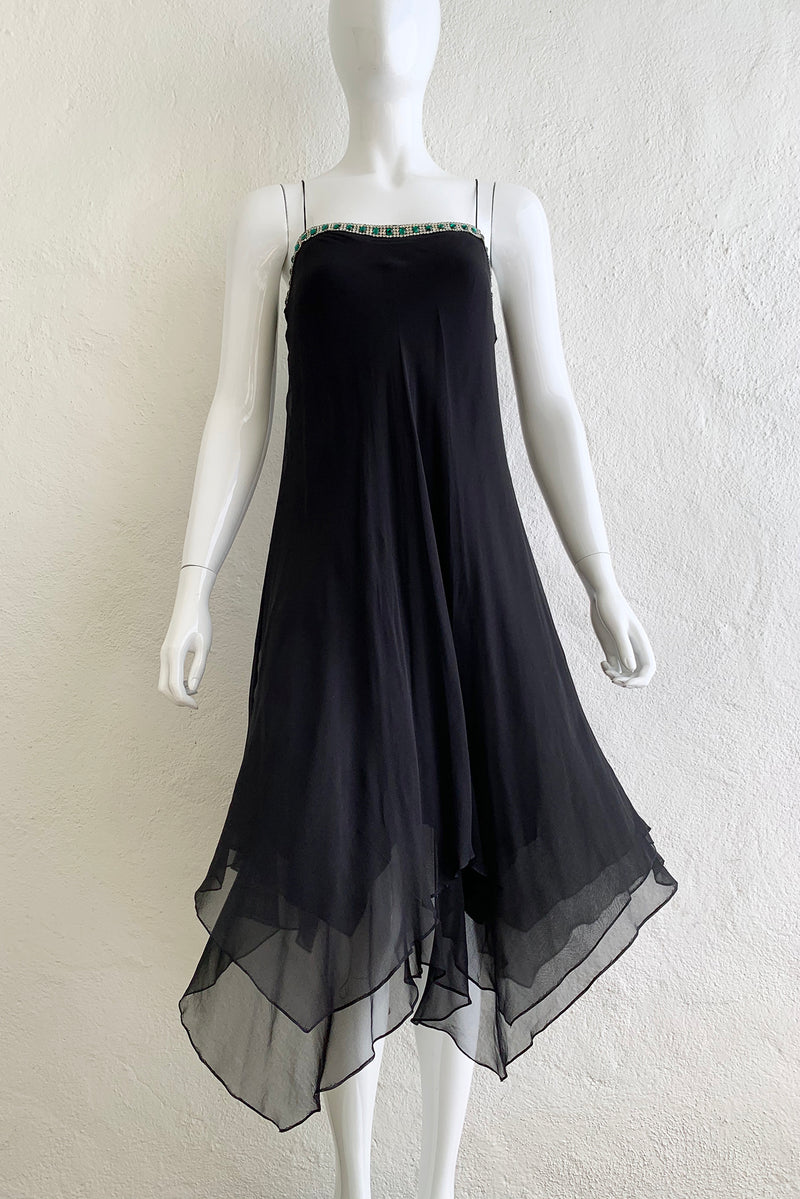 Vintage Tracy Mills Layered Chiffon Bias Dress on Mannequin Front At Recess Los Angeles