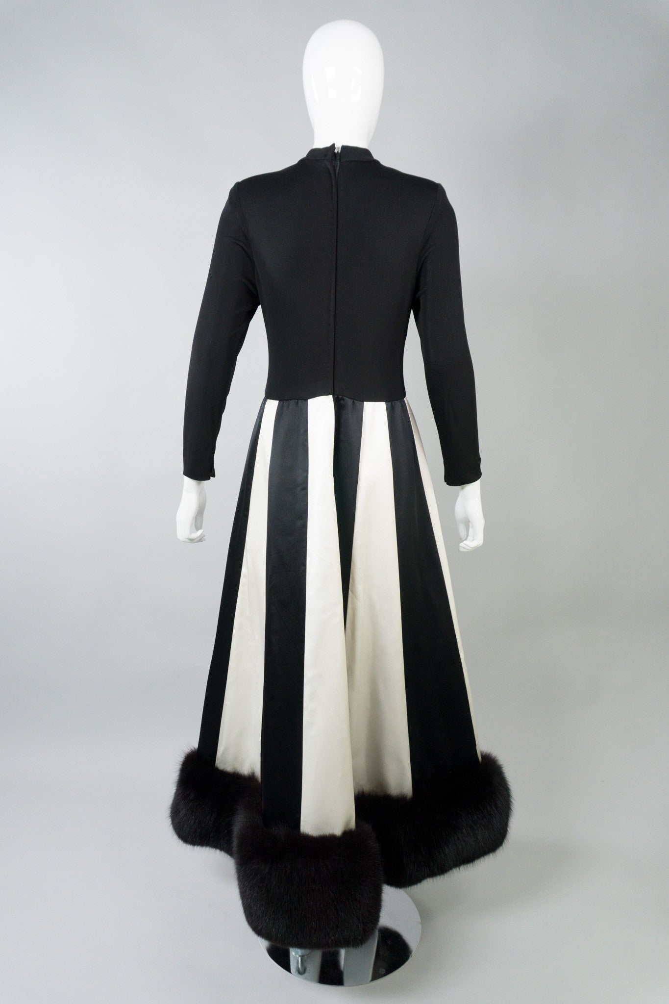 Travilla Inspired by Norman Norell Vintage Fur Stripe Dress