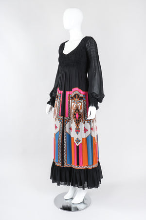 Recess Los Angeles Vintage Travilla Shirred Chiffon Peasant Dress