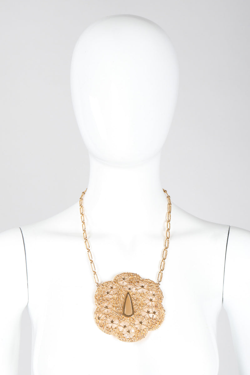 Recess Los Angeles Vintage Trifari Textured Brutalist Blossom Medallion Plate Necklace