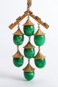 Vintage Trifari Faux Malachite Pagoda Bell Pendant Necklace at Recess Los Angeles