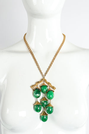 Vintage Trifari Faux Malachite Pagoda Bell Pendant Necklace on Mannequin at Recess Los Angeles
