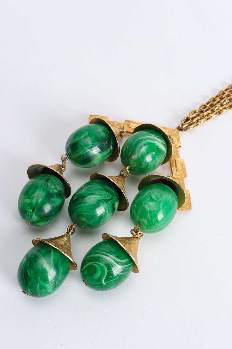 Vintage Trifari Faux Malachite Pagoda Bell Pendant Necklace Close Up at Recess Los Angeles