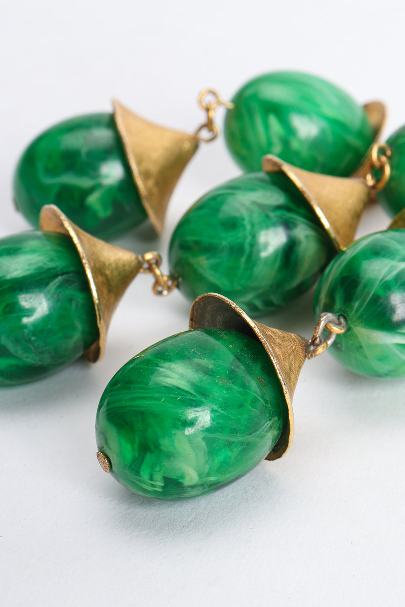 Vintage Trifari Faux Malachite Pagoda Bell Pendant Necklace bead detail at Recess Los Angeles