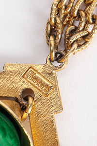 Vintage Trifari Faux Malachite Pagoda Bell Pendant Necklace Signature Cartouche at Recess Los Angeles