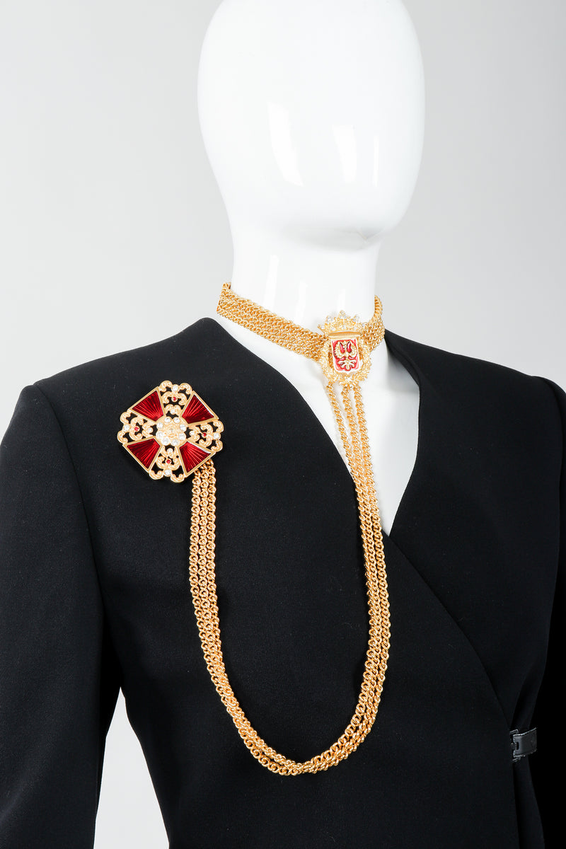 Vintage Ugo Correani Maltese Crest Lead Choker Chain Brooch on Mannequin at Recess