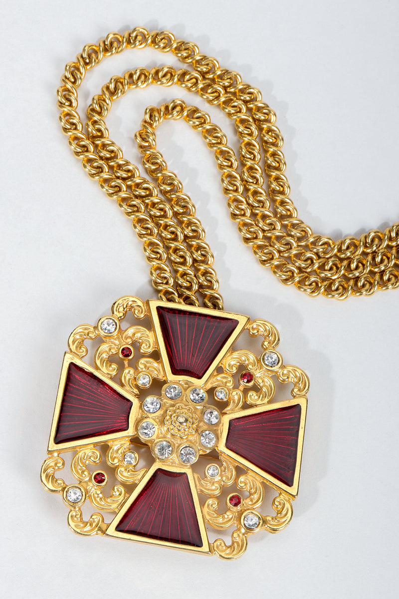 Vintage Ugo Correani Red Enamel Maltese Cross Detail