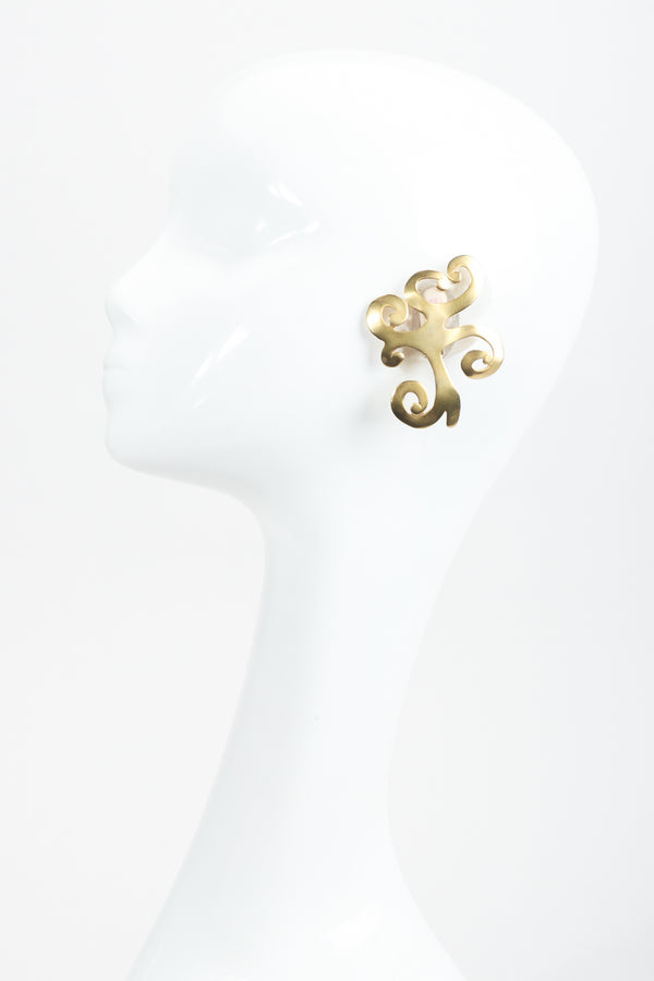 Vintage Ugo Correani Baroque Matte Swirl Earrings on mannequin at Recess Los Angeles