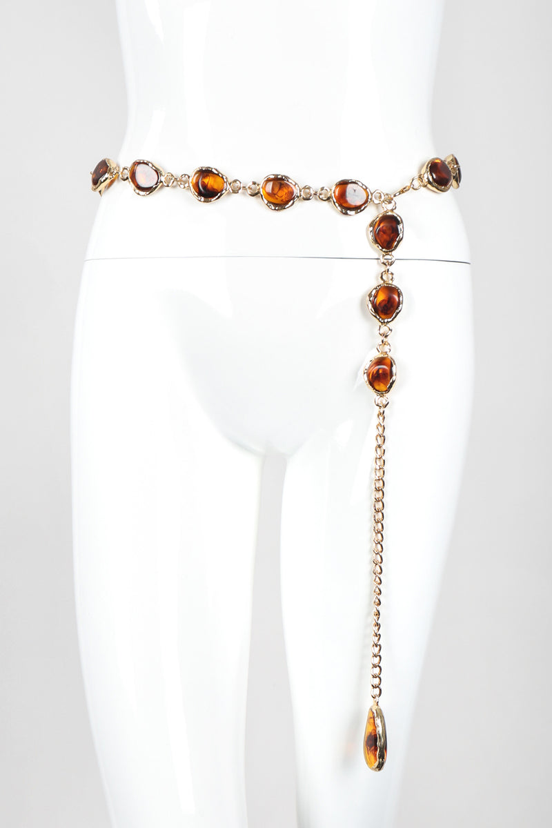 Recess Designer Consignment Vintage Unsigned Smoky Amber Gold Metal Chain Belt Los Angeles Resale